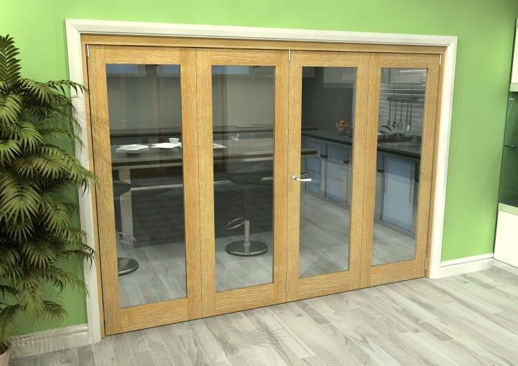 Glazed Oak 4 Door Roomfold Grande (2 + 2 X 762mm Doors) Image