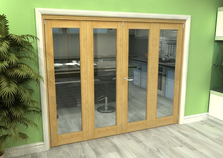 Glazed Oak 4 Door Roomfold Grande 2400mm (8ft) 2 + 2 Set Image