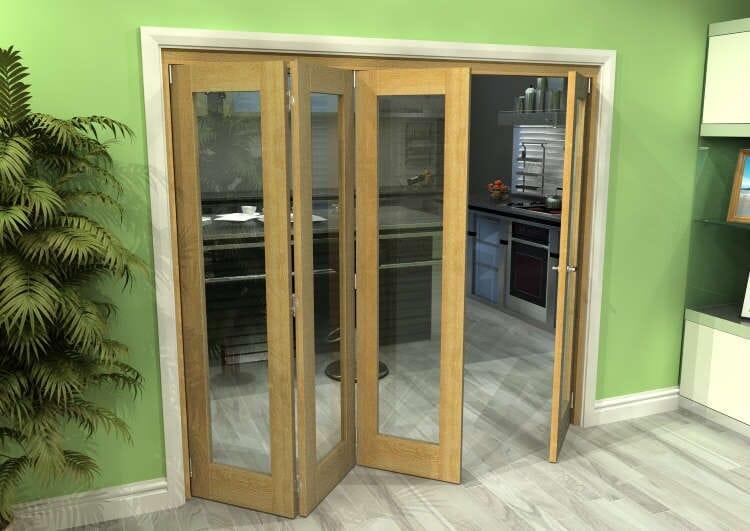 Glazed Oak 4 Door Roomfold Grande 2400mm (8ft) 3 + 1 Set Image