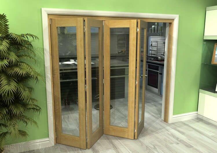 Glazed Oak 4 Door Roomfold Grande 2400mm (8ft) 4 + 0 Set Image