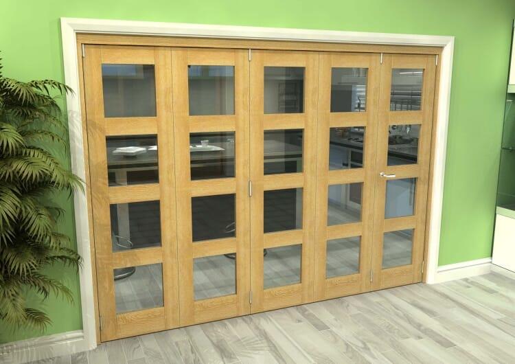 Glazed Oak 5 Door 4l Roomfold Grande (4 + 1 X 533mm Doors) Image