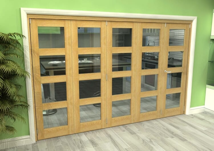 Glazed Oak 5 Door 4l Roomfold Grande (4 + 1 X 686mm Doors) Image