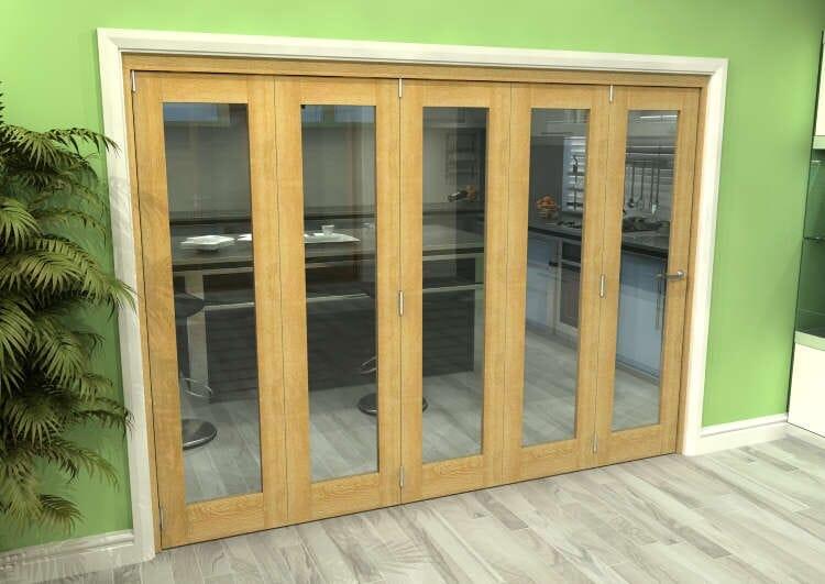 Glazed Oak 5 Door Roomfold Grande 3000mm (10ft) 5 + 0 Set Image