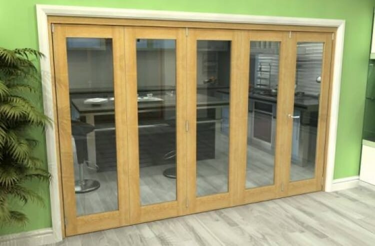 Glazed Oak 5 Door Roomfold Grande (4 + 1 X 762mm Doors) Image