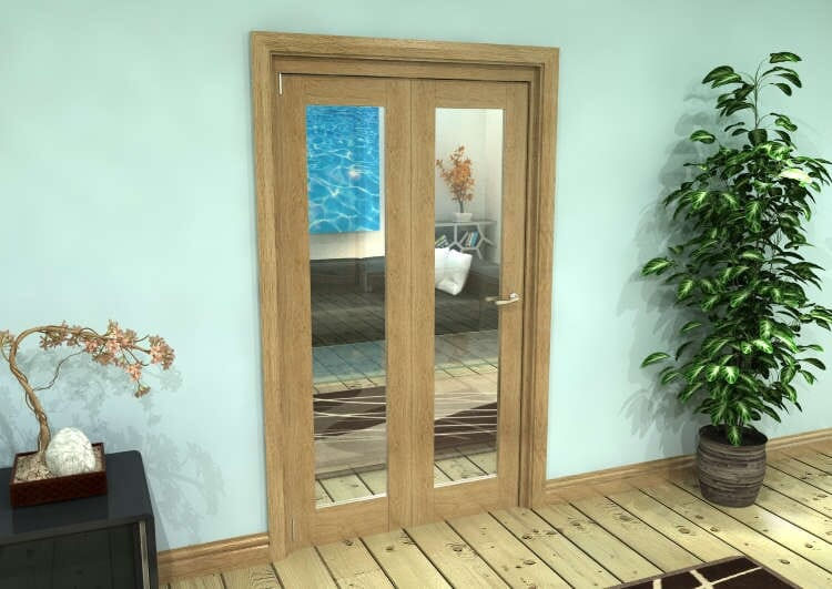 Glazed Oak Prefinished 2 Door Roomfold Grande (2 + 0 X 533mm Doors) Image