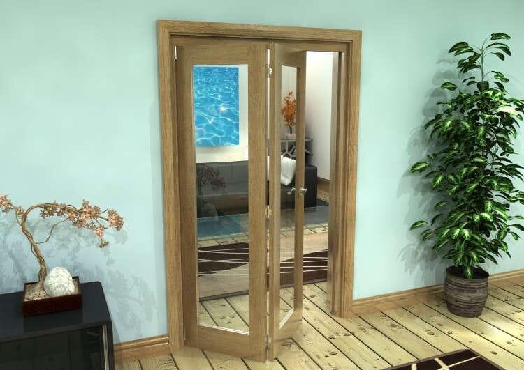 Glazed Oak Prefinished 2 Door Roomfold Grande (2 + 0 X 573mm Doors) Image