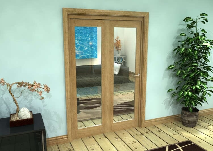 Glazed Oak Prefinished 2 Door Roomfold Grande (2 + 0 X 610mm Doors) Image