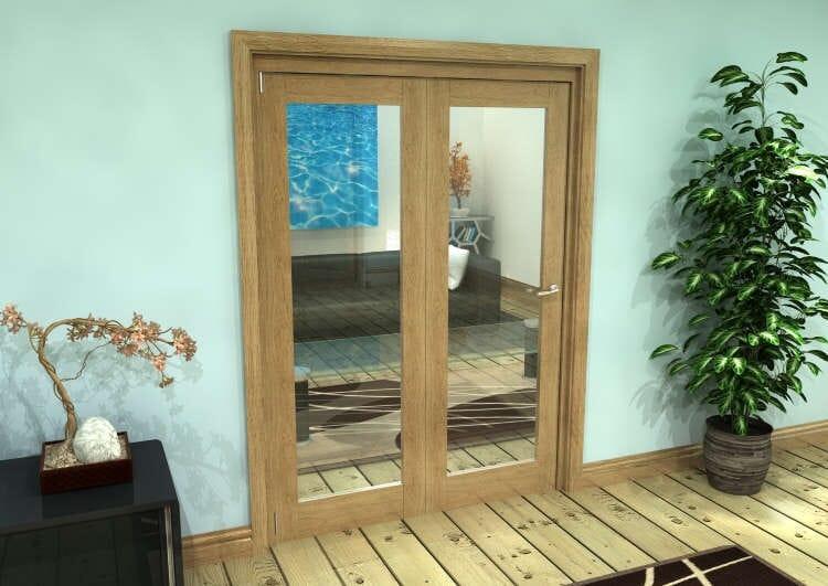 Glazed Oak Prefinished 2 Door Roomfold Grande (2 + 0 X 686mm Doors) Image