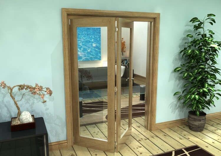 Glazed Oak Prefinished 2 Door Roomfold Grande (2 + 0 X 762mm Doors) Image