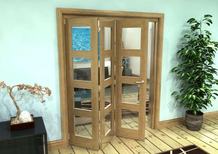 Glazed Oak Prefinished 3 Door 4l Roomfold Grande (3 + 0 X 533mm Doors) Image