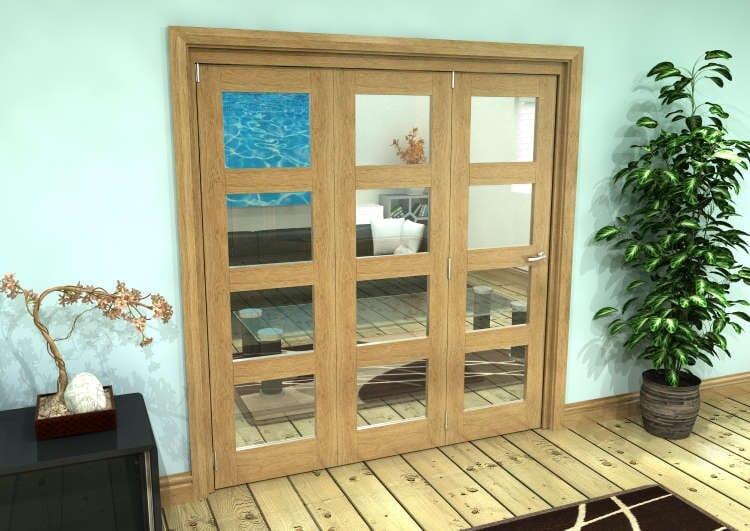 Glazed Oak Prefinished 3 Door 4l Roomfold Grande (3 + 0 X 610mm Doors) Image