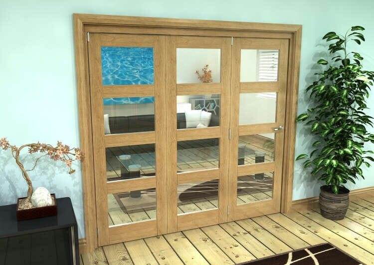 Glazed Oak Prefinished 3 Door 4l Roomfold Grande (3 + 0 X 686mm Doors) Image