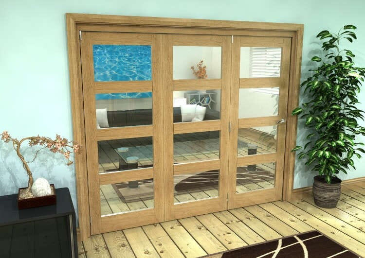 Glazed Oak Prefinished 3 Door 4l Roomfold Grande (3 + 0 X 762mm Doors) Image