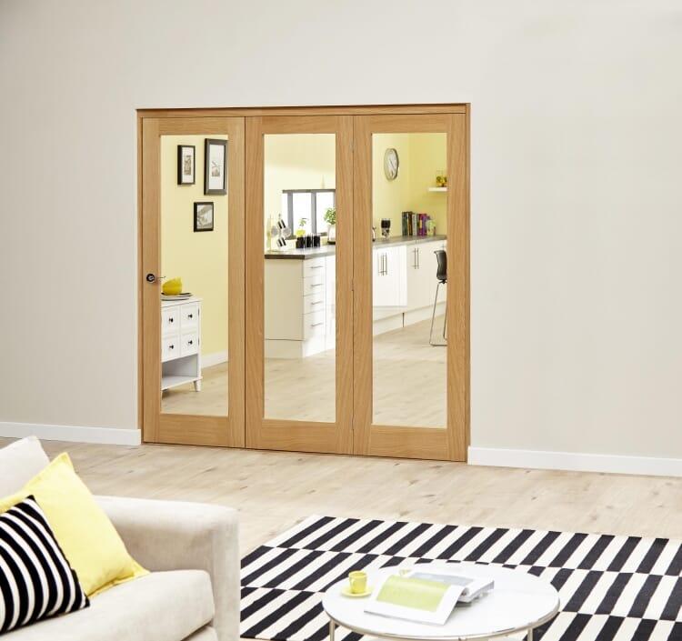 Glazed Oak Prefinished 3 Door Roomfold Deluxe 1800mm (6ft) Set Image