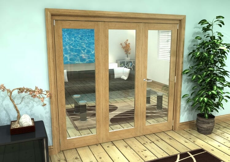 Glazed Oak Prefinished 3 Door Roomfold Grande (2 + 1 X 762mm Doors) Image