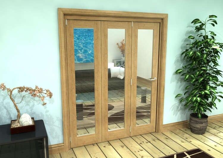 Glazed Oak Prefinished 3 Door Roomfold Grande (3 + 0 X 533mm Doors) Image