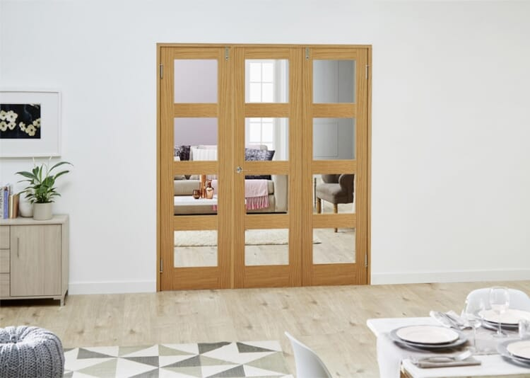 Glazed Oak Prefinished 3 Door Shaker 4l Frenchfold ( 3 X 686mm Doors ) Image