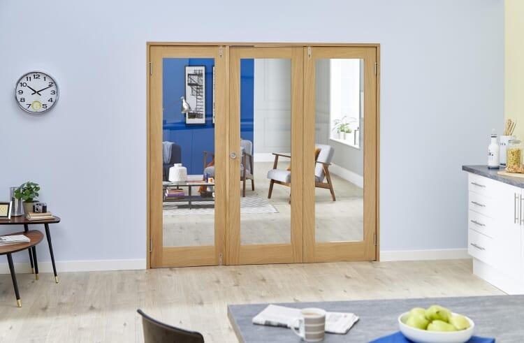 Glazed Oak Prefinished 3 Door Shaker Frenchfold 6ft (1800mm) Set Image