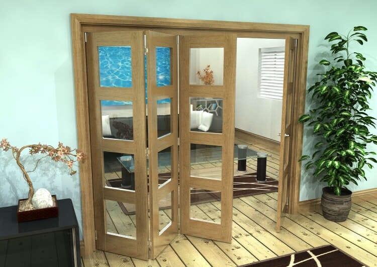 Glazed Oak Prefinished 4 Door 4l Roomfold Grande 2400mm (8ft) 3 + 1 Set Image