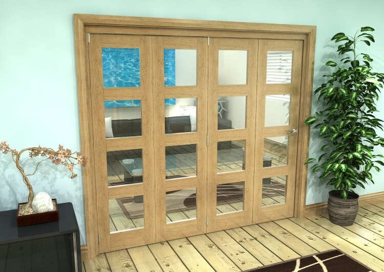 Glazed Oak Prefinished 4 Door 4l Roomfold Grande 2400mm (8ft) 4 + 0 Set Image