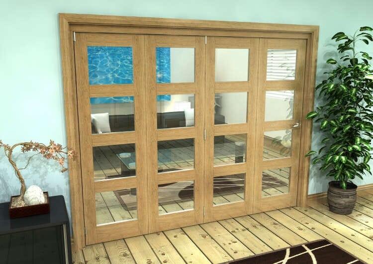 Glazed Oak Prefinished 4 Door 4l Roomfold Grande (4 + 0 X 610mm Doors) Image