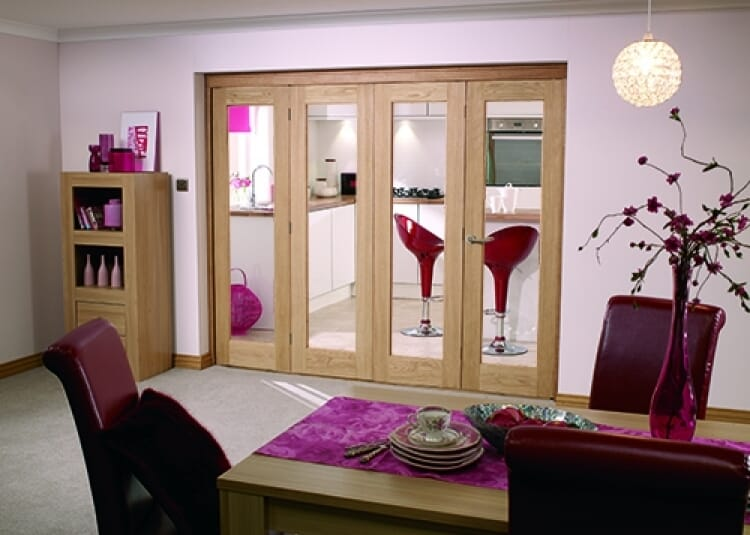 Glazed Oak Prefinished 4 Door Roomfold (2400mm- 8ft) Set Image