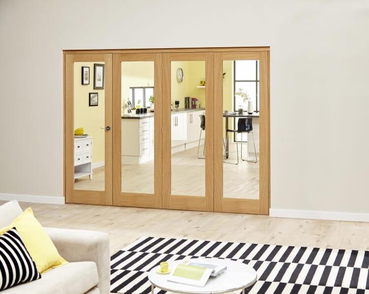 Glazed Oak Prefinished 4 Door Roomfold Deluxe 2400mm (8ft) Set Image