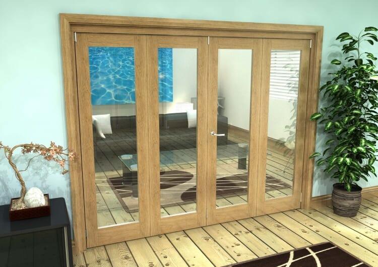 Glazed Oak Prefinished 4 Door Roomfold Grande (2 + 2 X 610mm Doors) Image