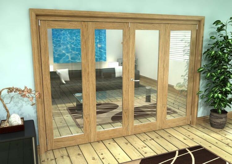 Glazed Oak Prefinished 4 Door Roomfold Grande (2 + 2 X 686mm Doors) Image