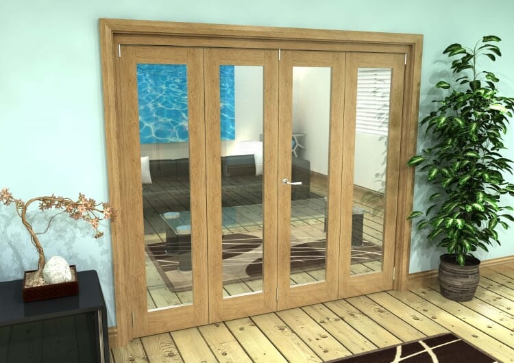 Glazed Oak Prefinished 4 Door Roomfold Grande 2400mm (8ft) 3 + 1 Set Image