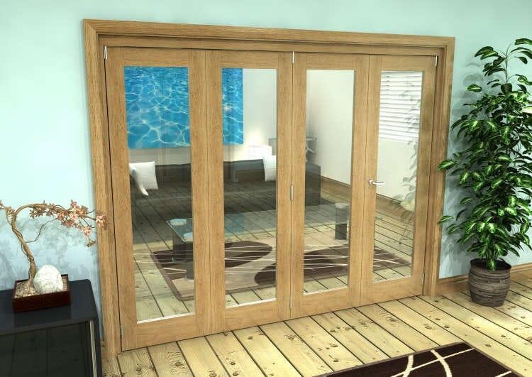 Glazed Oak Prefinished 4 Door Roomfold Grande (3 + 1 X 610mm Doors) Image