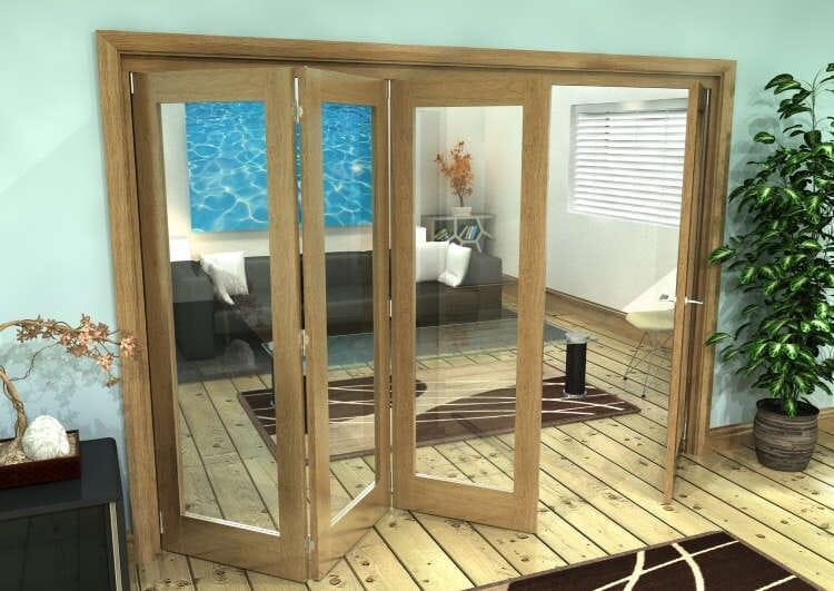 Glazed Oak Prefinished 4 Door Roomfold Grande (3 + 1 X 686mm Doors) Image