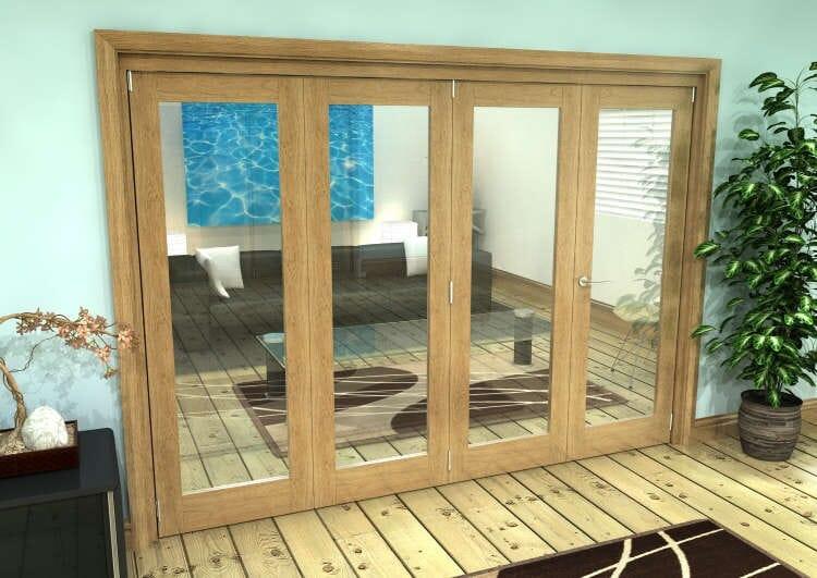 Glazed Oak Prefinished 4 Door Roomfold Grande (3 + 1 X 762mm Doors) Image