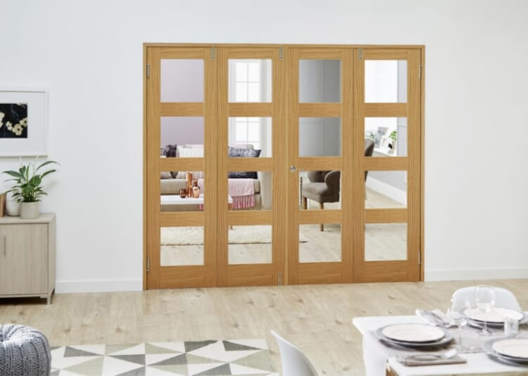 Glazed Oak Prefinished 4 Door Shaker 4l Frenchfold ( 4 X 610mm Doors ) Image