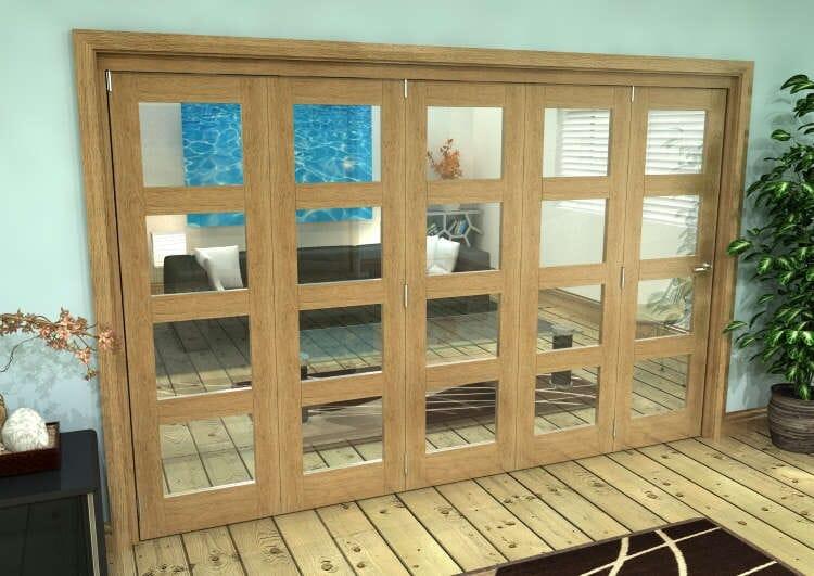 Glazed Oak Prefinished 5 Door 4l Roomfold Grande 3000mm (10ft) 5 + 0 Set Image