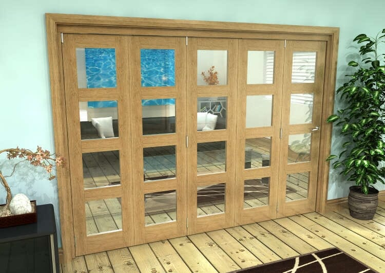 Glazed Oak Prefinished 5 Door 4l Roomfold Grande (5 + 0 X 533mm Doors) Image