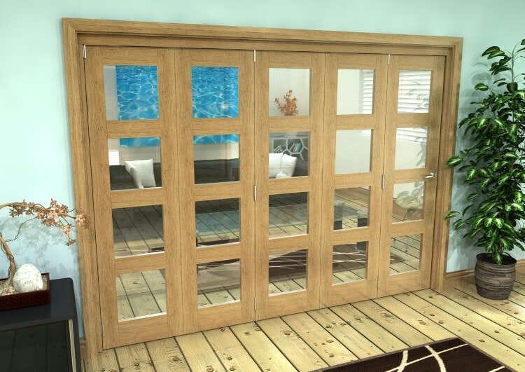 Glazed Oak Prefinished 5 Door 4l Roomfold Grande (5 + 0 X 610mm Doors) Image