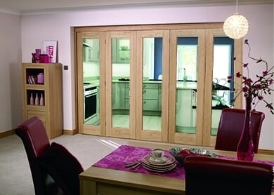 Glazed Oak Prefinished 5 Door Roomfold (5 X 2