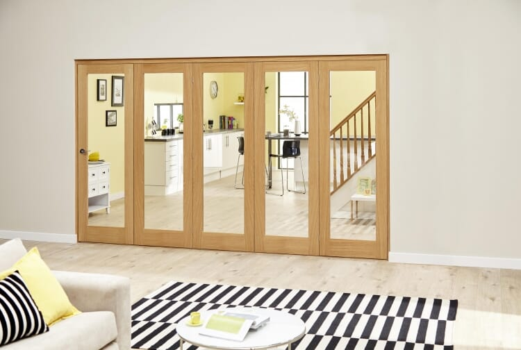 Glazed Oak Prefinished 5 Door Roomfold Deluxe 3000mm (10ft) Set Image