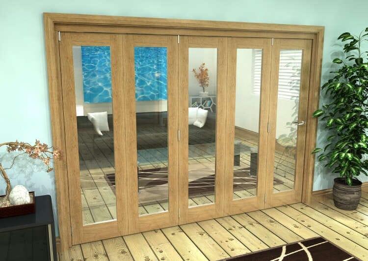 Glazed Oak Prefinished 5 Door Roomfold Grande 3000mm (10ft) 5 + 0 Set Image