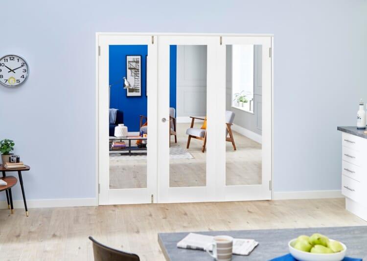 Glazed White Primed Shaker 3 Door Frenchfold 6ft (1800mm) Set Image