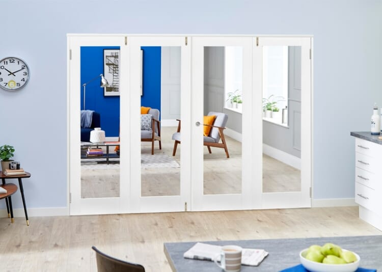 Glazed White Primed Shaker 4 Door Frenchfold 8ft (2374mm) Set Image