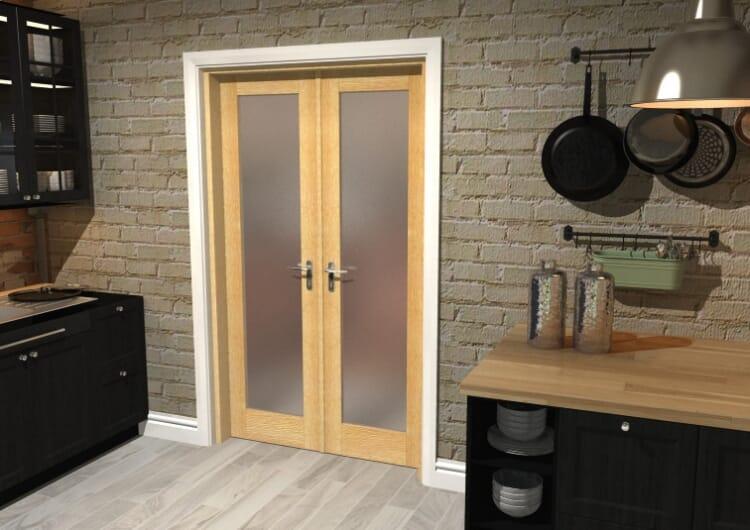 "Obscure Oak French Door Set  - 21"" Pair Image"