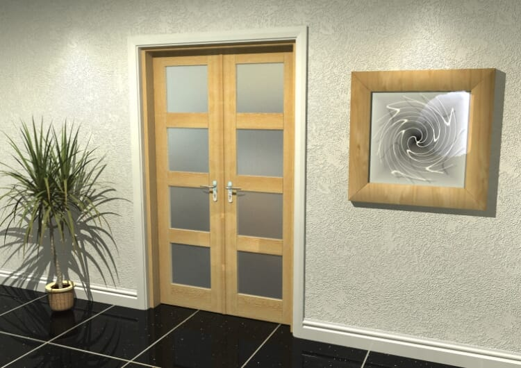 """4l Frosted Oak French Door Set  - 21"""" Pair Image"""