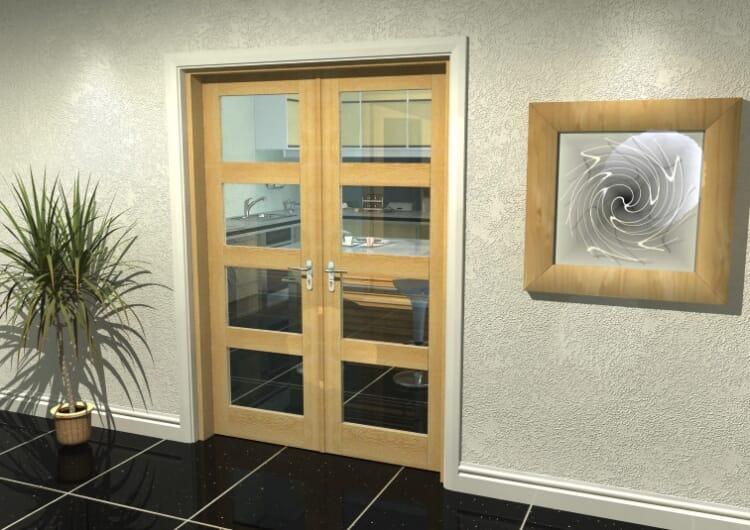 "Oak 4l French Door Set  - 27"" Pair Image"