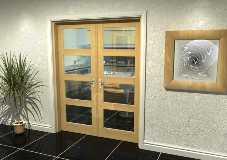 "Oak 4l French Door Set  - 30"" Pair Image"