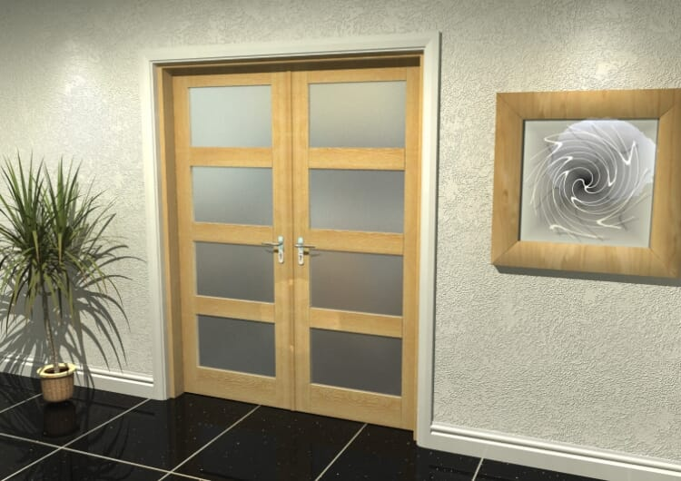 """4l Frosted Oak French Door Set  - 30"""" Pair Image"""
