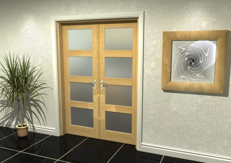 """4l Frosted Oak French Door Set  - 22.5"""" Pair Image"""