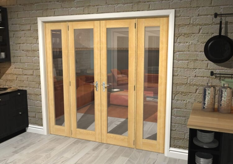 "Oak Prefinished French Door Set  - 21"" Pair + 2 X 15"" Sidelights Image"