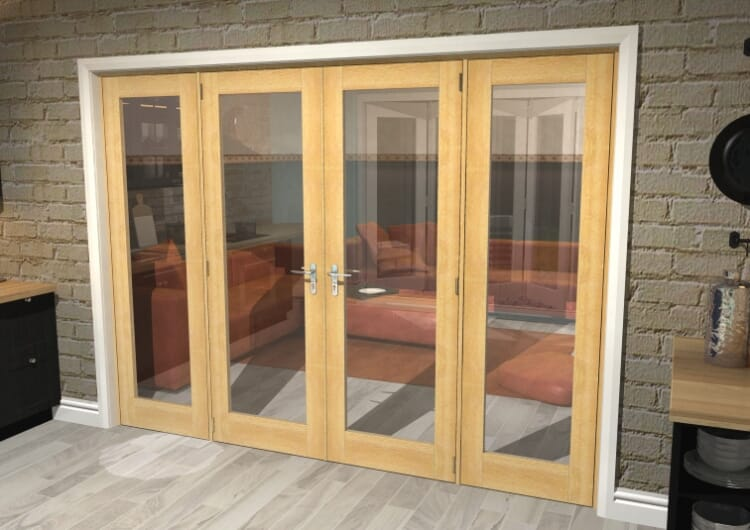 "Oak Prefinished French Door Set - 27"" Pair + 2 X 24"" Sidelights Image"